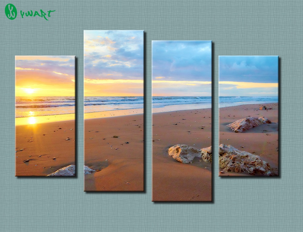 4 piece Wall Paintings Home Decorative Modern Sunset Beach combination Paintings for home creative idea decor