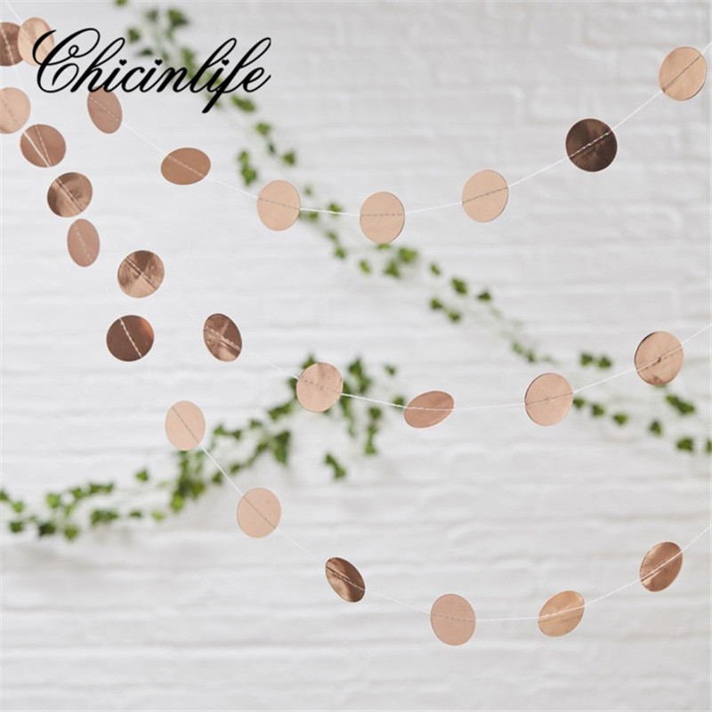 Chicinlife 1set Rosegold Star/Round Garland Bunting Happy Birthday Party Decor Banner Baby Shower wedding Decoration Supplies