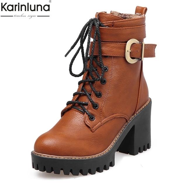 KARINLUNA Più Il formato 33-43 fibbie lacci delle scarpe autunno inverno Stivali Scarpe Da donna Alla Caviglia Stivali tacco alto Scarpe all'ingrosso della Donna