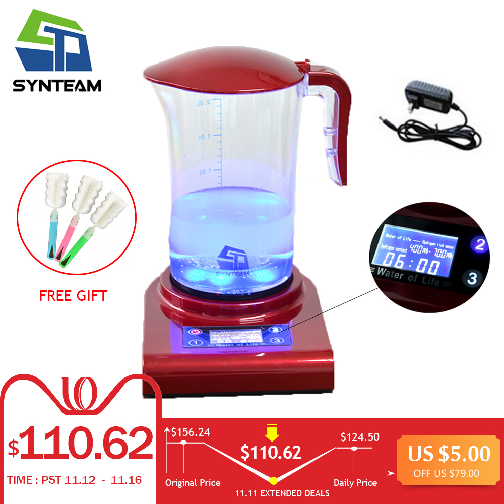 SYNTEAM 2.0L Large Hydrogen Water Maker Brand Alkaline Water Ionizer Hydrogen Generator HEALTH CARE PRODUCT Anti Aging WAC001 new arrival hydrogen generator hydrogen rich water machine hydrogen generating maker water filters ionizer 2 0l 100 240v 5w hot