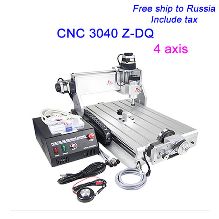 Free ship to Russia, no tax! CNC 3040 Z-DQ 4 axis Engraver with Ball Screw CNC Milling Machine For PCB/Wood,factory sale russia tax free cnc woodworking carving machine 4 axis cnc router 3040 z s with limit switch 1500w spindle for aluminum