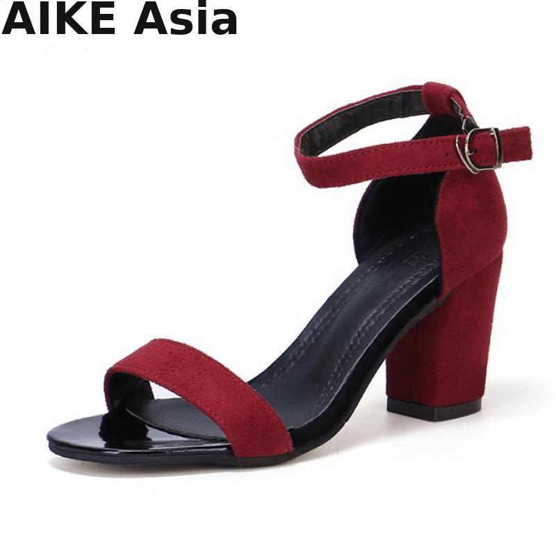 2019 Summer Women Sandals Open Toe  Women's Sandles Thick Heel Women Pumps  Shoes Korean Style Gladiator Shoes High Heel