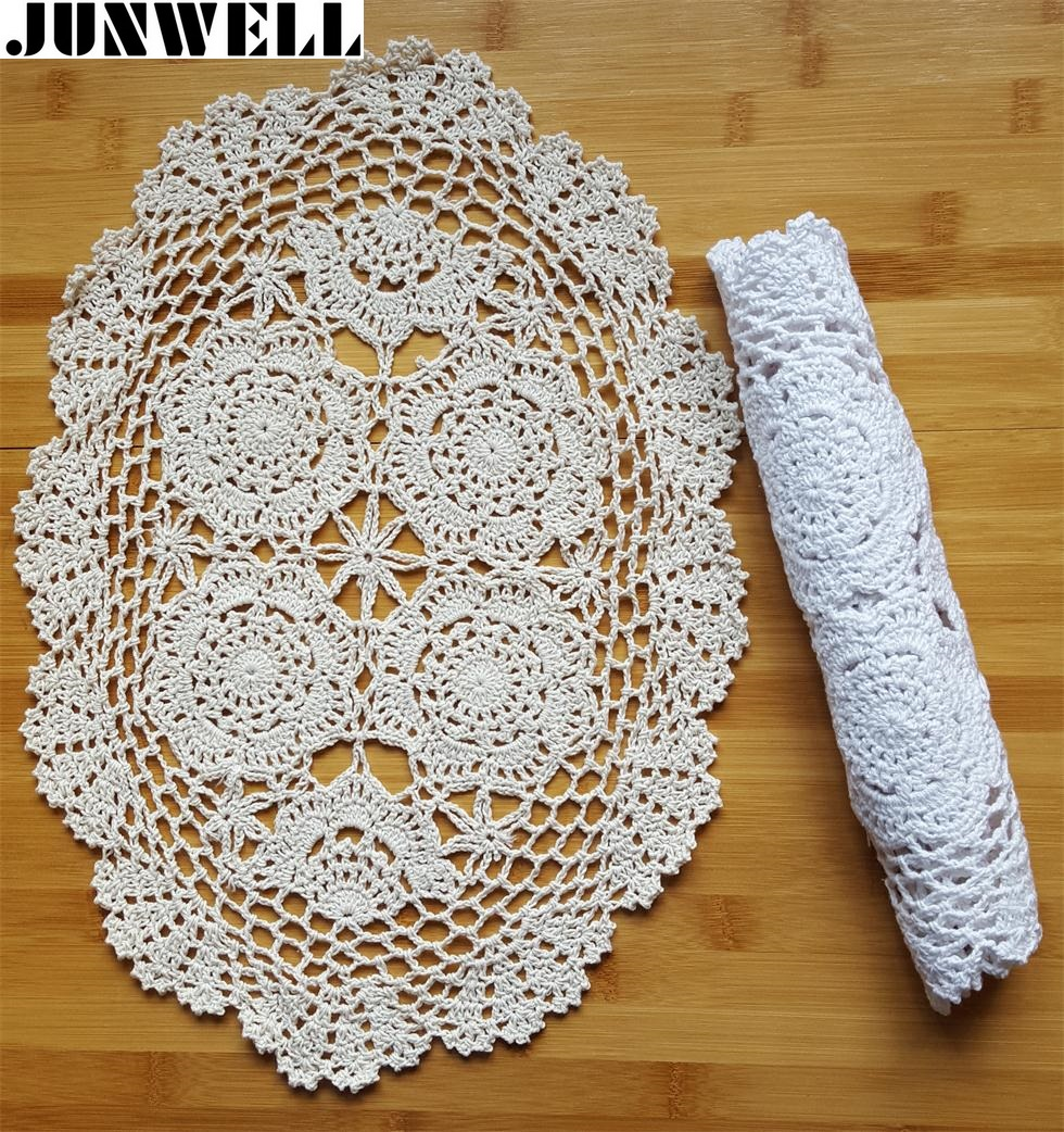 30X45CM Shabby Chic Multi Color Vintage Crocheted Doilies Handmade Crochet Coasters Cotton Lace Cup Mat Placemat 1PC/SET DIY