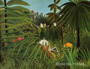 Animal paintings of Henri Rousseau Horse Attacked by a Jaguar Hand painted canvas art High quality