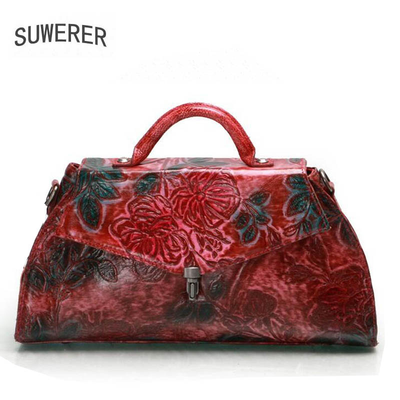 SUWERER 2018 new genuine leather women bags Retro Embossed Flower luxury women bags designer bag handbags women famous brands