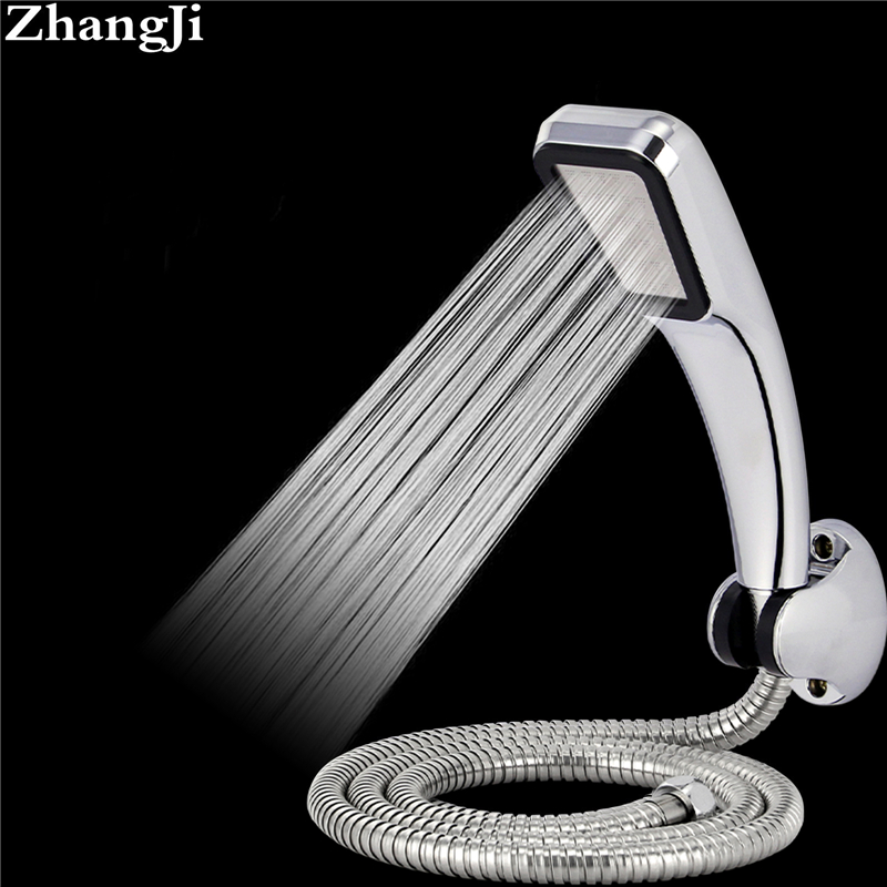 Zhangji HOT 300 Holes ABS Shower Head With Holder And Hose Chrome 30% Water Saving 300% Pressure Boost Bathroom Shower Head Set