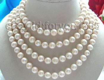 """FREE shipping >>65"""" Genuine Natural 11mm Round White Pearl Necklace! 6.07"""