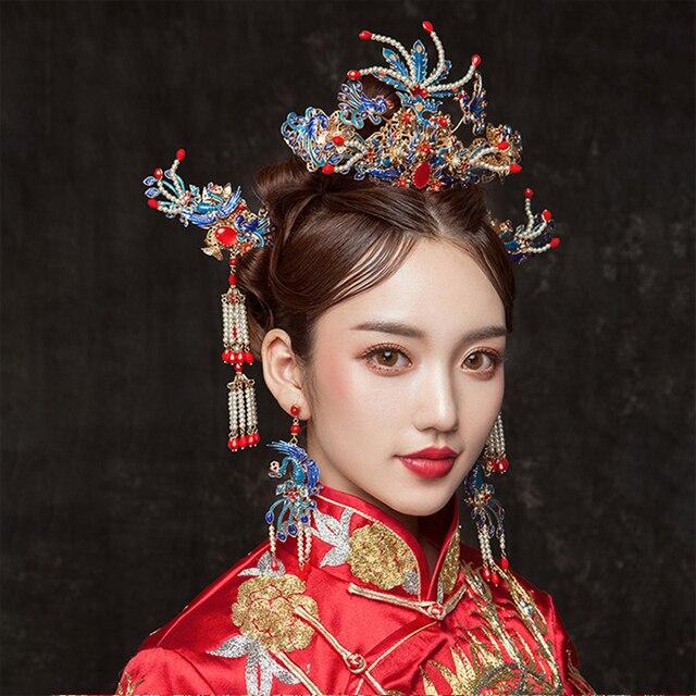 Himstory fait à la main chinois Style ancien épingles à cheveux de mariage rétro chinois bleu paon Phoenix Coronet cheveux ornement accessoire de cheveux