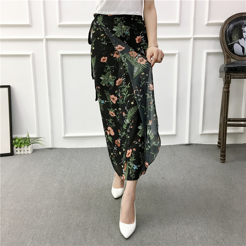 8bda3275bde2 Ferns Floral Maxi Skirt Summer Chiffon Split Long Skirt with Ties Women  Beach Party Skirt Outfits Saia Feminina-in Skirts from Women s Clothing on  ...