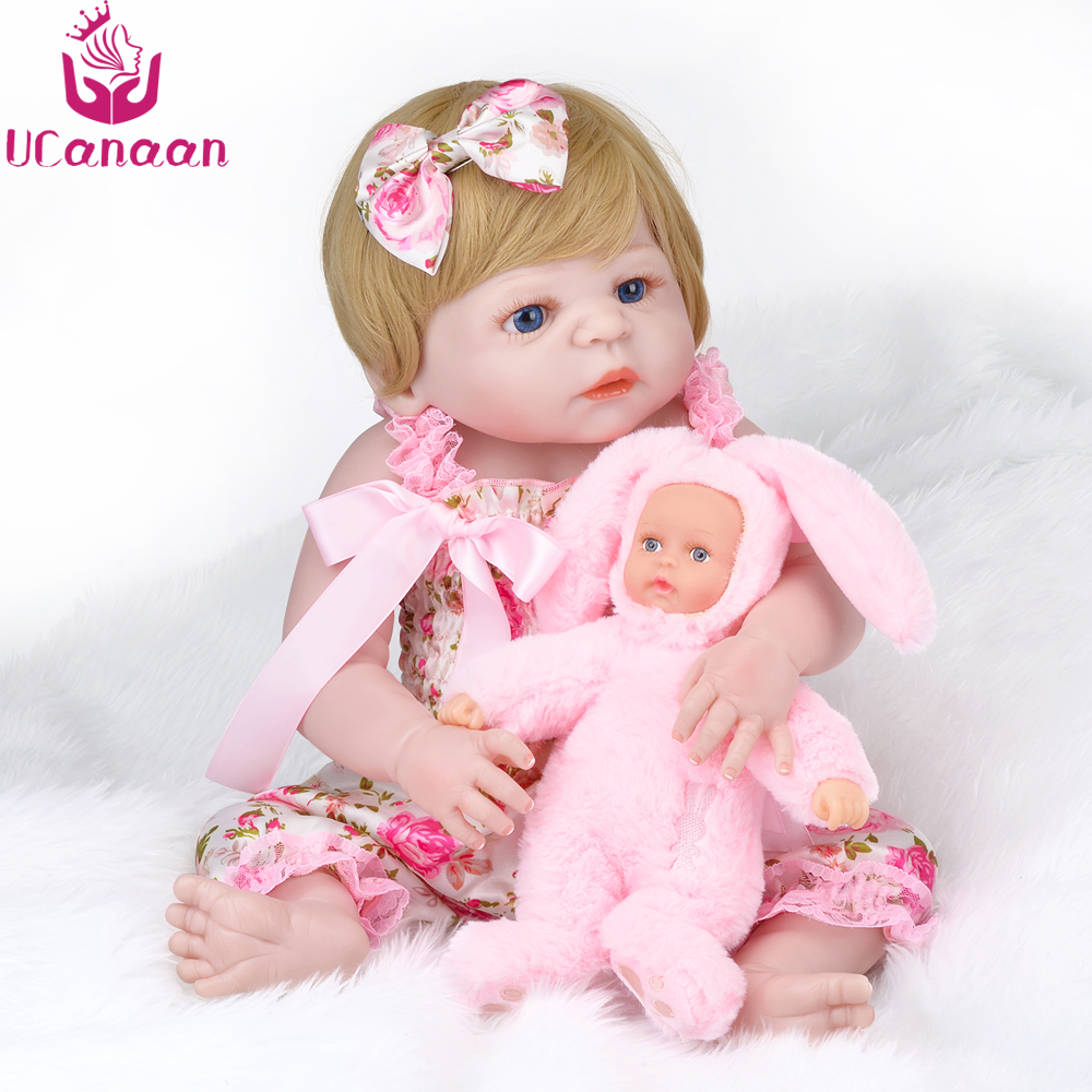 UCanaan 55CM Silicone Reborn Dolls Baby New Born Alive Doll With Rabbit Plush Stuffed Toy Best Children Gifts