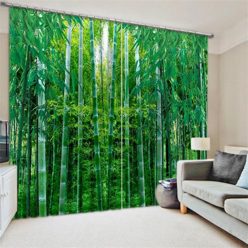 Luxus Blackout 3D Fenster Vorhänge Für Wohnzimmer büro Schlafzimmer Vorhänge cortinas Rideaux Angepasst größe Bambus blatt Wasserfall-in Vorhänge aus Heim und Garten bei  Gruppe 3