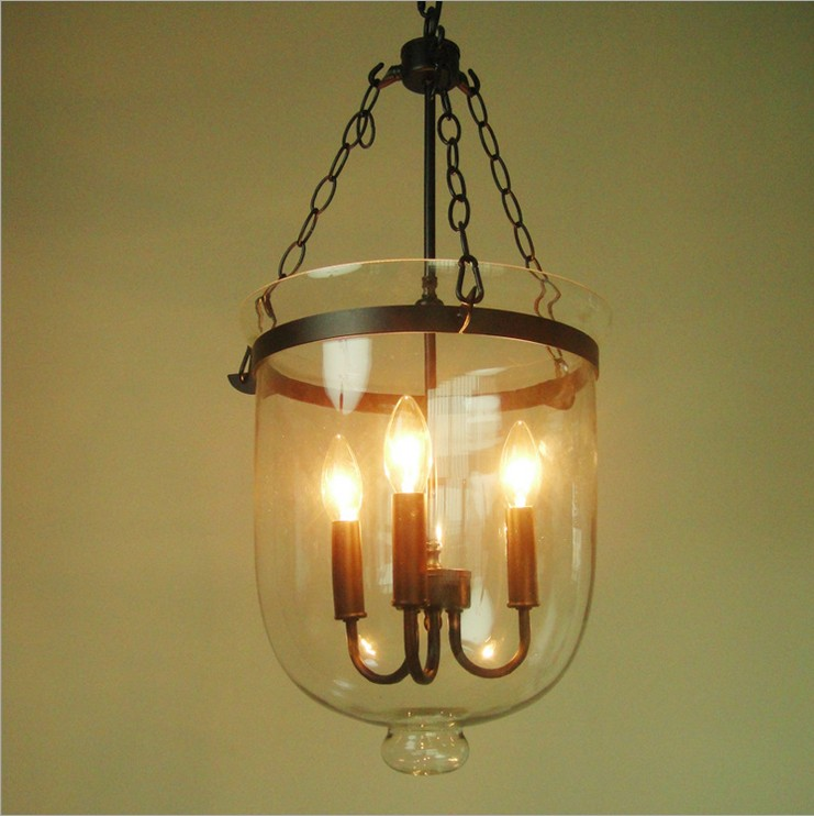 American Country Round Glass Chandelier Creative