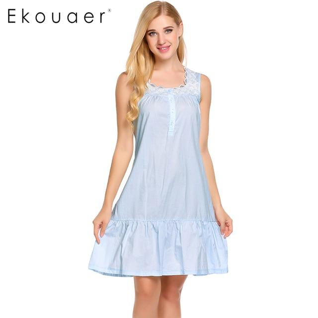 f1fd5531e4 Ekouaer Elegant Victorian Style Nightgown Womens Sleeveless Cotton Loose  Sleepwear Lace Patchwork Nightwear Home Clothing