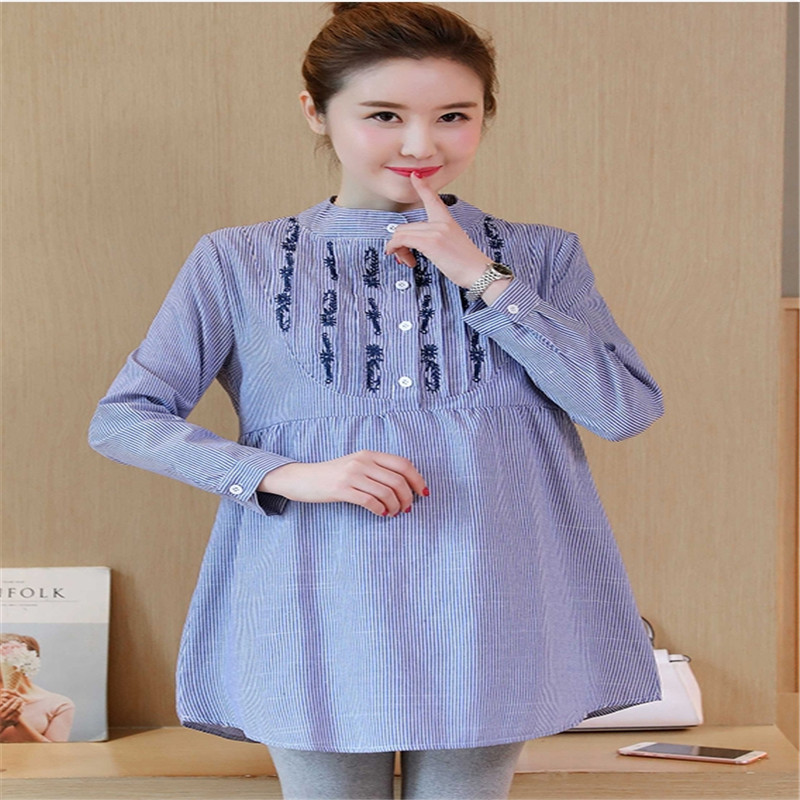 цена на Maternity wear 2018 new style striped embroidery maternity top maternity shirt