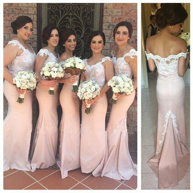4ac4d316fad Hot Sale Cap Sleeve Mermaid Bridesmaid Dresses V Neck Lace Top Applique  Elegant Wedding Party Dresses Vestido De Noiva