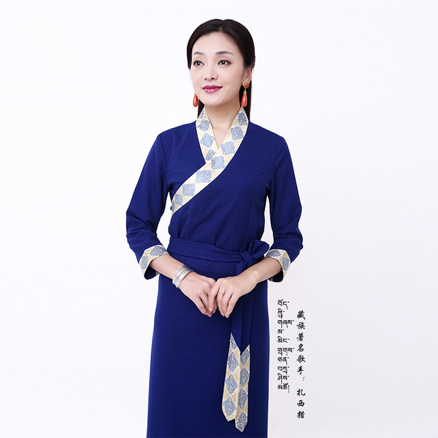 Spring and summer Women robe tibetan clothes Chinese national Minorities clothes Cangpao Tibet lifestyle clothing