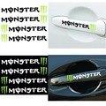 4 UNIDS/LOTE Enfriar Monster Manija Del Coche Pegatinas Coche que labra Cubre Accesorios de Motocicletas Estilo Tatuajes de Pared de Vinilo Reflectante