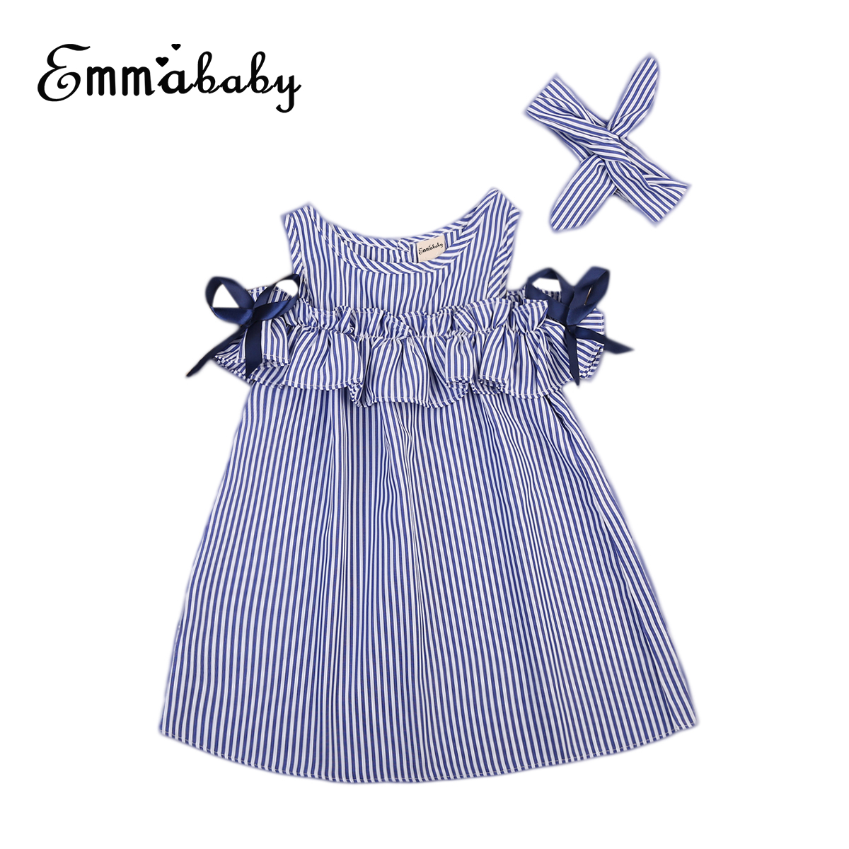 Toddler Kids Baby Girls Dresses Clothes Striped Off-shoulder Ruffles Dress Blue Party Ball Gown Dress Girls Clothing