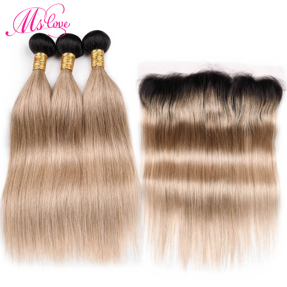 Ms Love Tb 27 Blonde Human Hair Bundles Straight With Frontal Closure 13 4 Remy Brazilian
