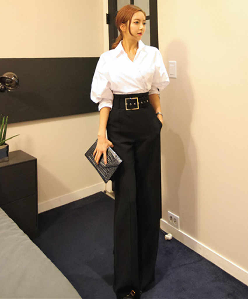 JSXDHK Herbst Frauen Formale 2 Stück Hose Set 2018 Weiß Baumwolle Unregelmäßigen Arbeit Bluse + Hohe Taille Schwarze Hose Hose anzüge
