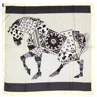 100 REAL SILK Women Horse Pattern SCARF OL Print 90 90cm Square Kerchief Brand Summer Stewardess