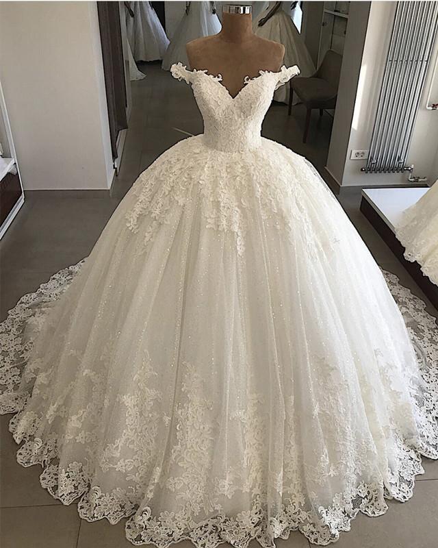 Gardlilac Vintage Off the Shoulder Lace Wedding Dresses Plus Size Appliques Dubai Bridal Gowns Puffy Ball Gowns Vestido De Novia