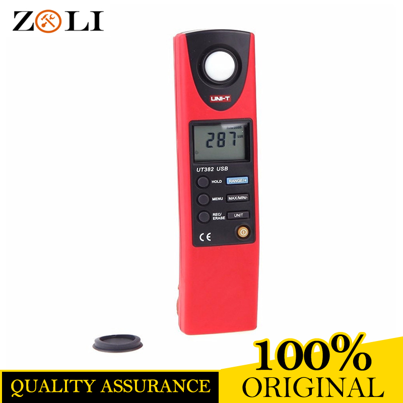 UT382 LCD Display Digital Lux Meter Light Meter Luxmeter Tester Illuminometer Photometer 20-20000 Lux Lumen USB Transfer UT382 free shipping digita 200 000 lux tester meter 4 range lcd digital light meter luxmeter tester luminometer photometer