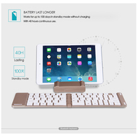 portable aluminum B.O.W  Light and portable Folded Bluetooth Keyboard, Aluminum Metal Wireless Mini Keyboard Case for Tablet/iPad /iPhone 8 7 (5)