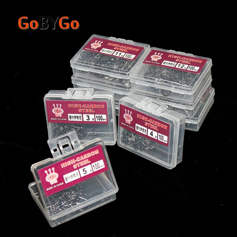 GoByGo 100PCS 1 Box Steel Fishhooks Carp Fishing Jig Head Set Pesca Fishing High Carbon Tackle Carp Fishing Hooks
