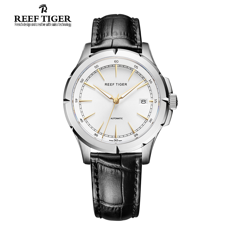2017 New Arrival Reef Tiger/RT Watches Brand Automatic Date Watch Men Steel Case Leather Strap Business Luminous Watches RGA819 longbo brand new arrival leisure business series watches leather date calendar men waterproof wrist watches 3015