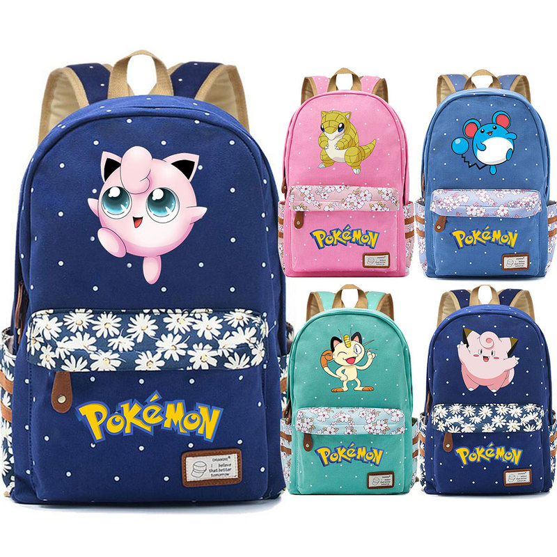 Hot Cartoon Jigglypuff Psyduck Meowth Flower Dot Boy Girl School Bag Women Bagpack Teenagers Schoolbags Canvas Femme Backpack image