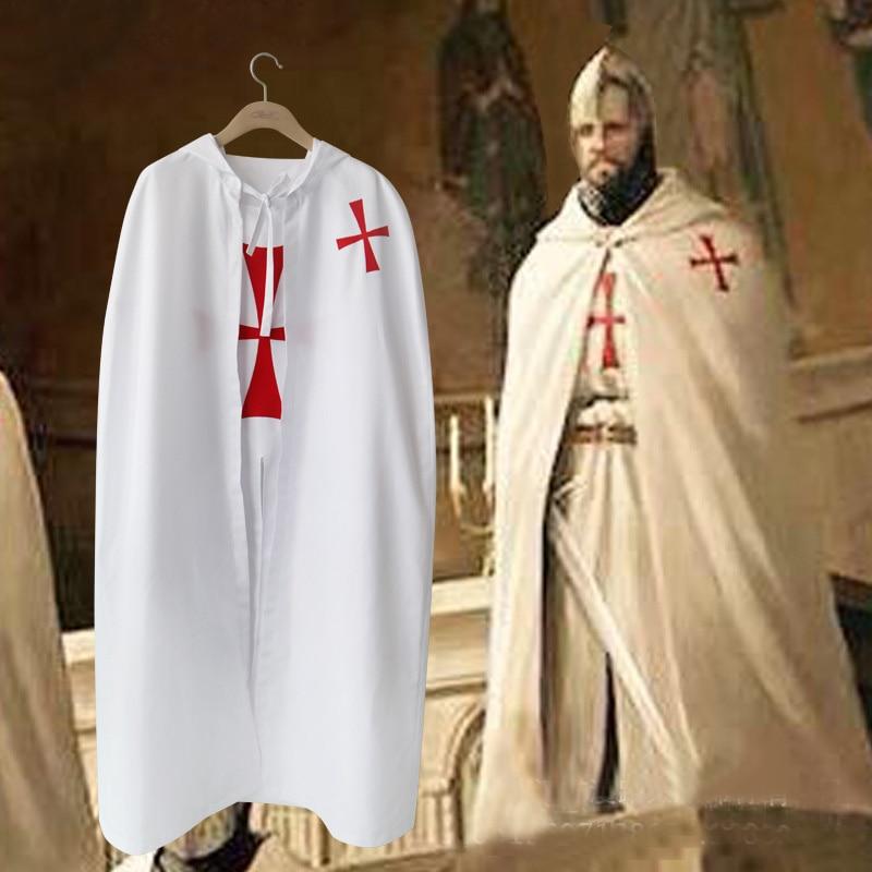 Halloween Men Crusader Costume Cape Cloak Medieval Templar Hospitaller Knights Tunic Robe Halloween Carnival Cosplay Costume 2pc