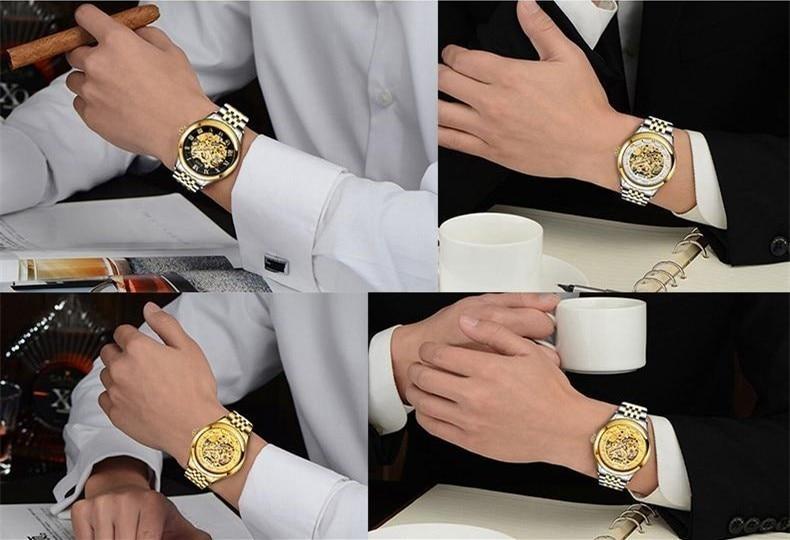 ANGELA BOS Relojes mecánicos automáticos para hombres Oro Esqueleto - Relojes para hombres - foto 6