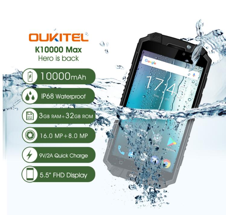 OUKITEL K10000 Max 3GB 32GB IP68 Waterproof Mobile Phone 10000mAh 5.5 Inch FHD MT6753 Octa Core 16MP Fingerprint Touch ID OTG