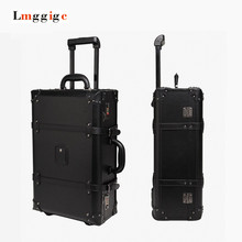 20″24″inch Vintage Travel Roller Trolley Luggage,Fashion male female black Suitcase case,High quality With rivet Rod Box