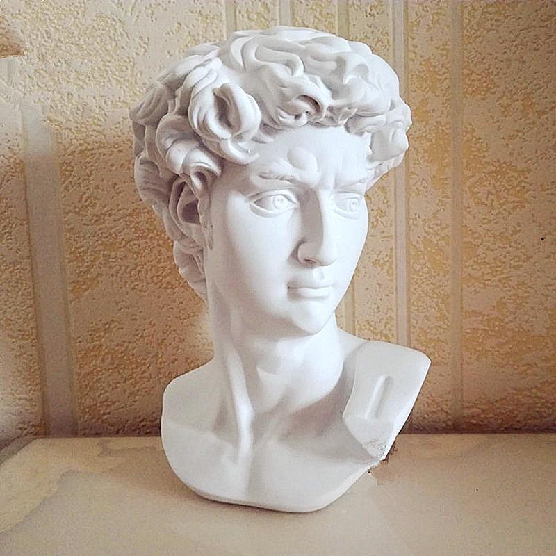 David Head Portraits Bust Mini Gypsum Statue Michelangelo Buonarroti Sculpture Home Decoration Art&Craft Sketch Practice L1239