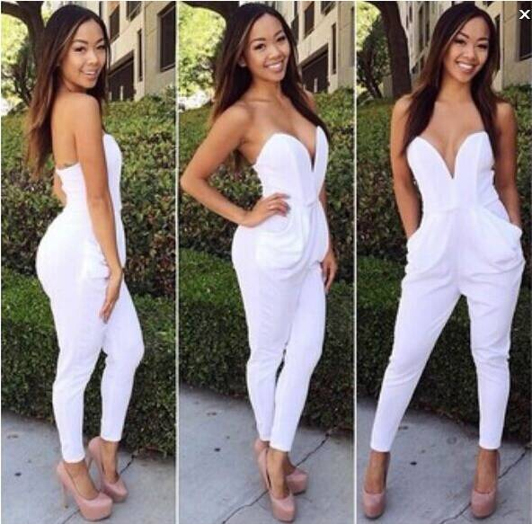 2005aab37 Women Sexy V-neck Bodycon Bandage Strapless Tight Waist White Jumpsuits  Exposed Piece Pants Romper femininas macacaos overalls