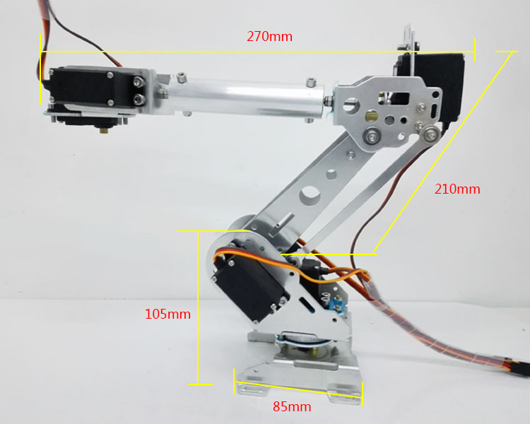 DLT718 Robot Arm 6-Axis 6 Dof Manipulator Industrial Educational Robot Arm + 6 Servos intelligent force and position control of 6 dof robot manipulator