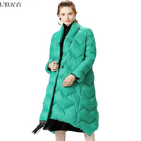 LXUNYI Ladies Coat 2018 New Autumn Winter Women White Goose Down Jacket Stand Collar Loose Thick