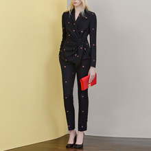 Fashion Formal Office Work Wear Pantsuits Leaf Embroidery Black Blazer Long Pant 2 Piece Set Business Suits for Women Autumn