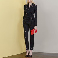 Fashion Formal Office Work Wear Pantsuits Leaf Embroidery Black Blazer Long Pant 2 Piece Set Business Suits for Women Autumn