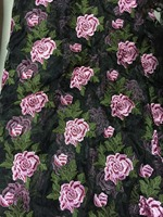 130cm wide luxurious China folk styly big peony flower embroidery organdy base lace fabric,6 flowers in row,XERY0727E