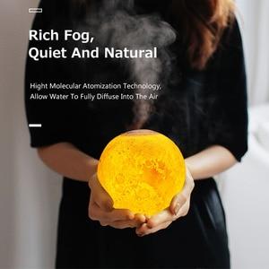 Image 4 - Ultradźwiękowy olejek eteryczny do nawilżacza dyfuzor do aromaterapii 880ml 3D lampa księżycowa światło z USB oczyszczacz rozpylający mgiełkę
