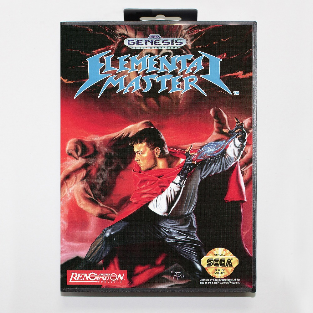 16 bit Sega MD game Cartridge with Retail box - Elemental Master game card for Megadrive Genesis system image