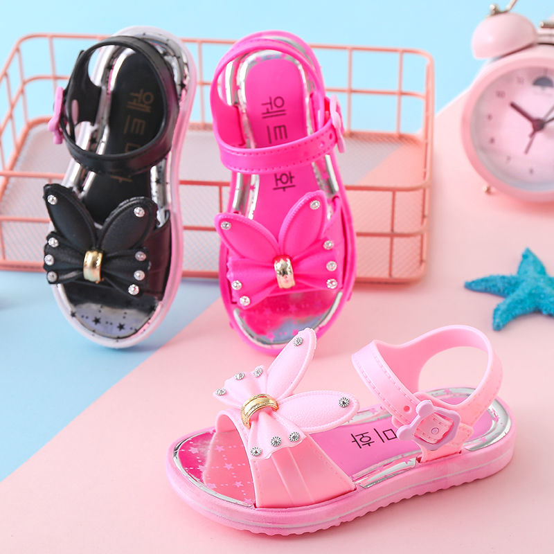 New Summer Girl's Shoes Baby Girl's Sandals Anti-skid Children Summer Shoes 4-18 Years Old RUBBER Outsole Princess Sandals