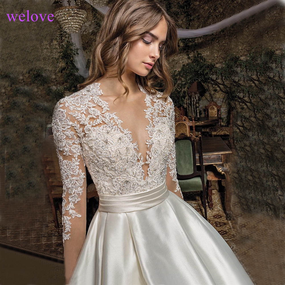 Sexy Lace  Embroidery Ivory Stain Luxury  AppliquesVHigh-end Custom  Wedding dress 2019 new arrivalIvory  Vestido De Noiva