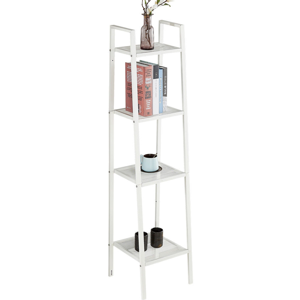 Confident 4 Tier Iron Ladder Shelf Unit Bookshelf Rack Bookcase Book Storage Use To Display Ornaments Art Crafts House Plants Etc Choice Materials Home