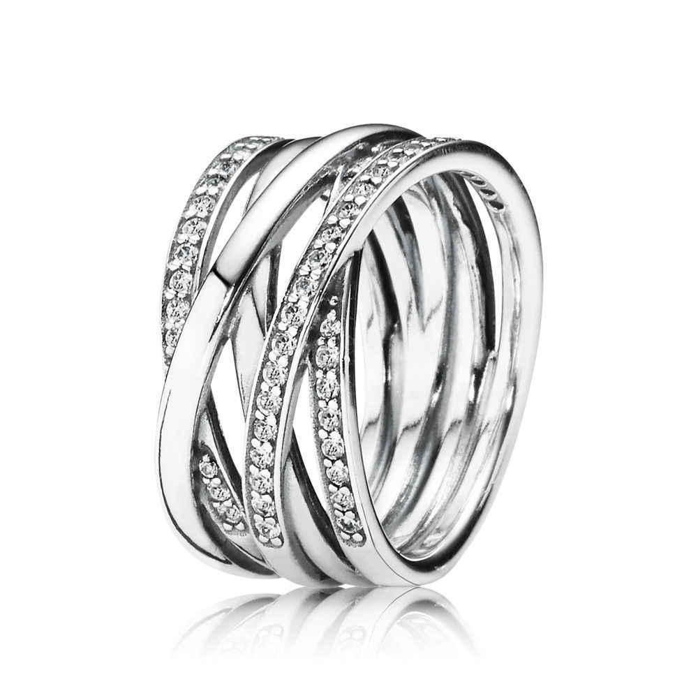 ดอกไม้คริสตัล DRAGONFLY แหวนเงินแท้ 925 สีชมพูสีขาว Finger แหวนสำหรับผู้หญิง 925 เครื่องประดับงานแต่งงาน