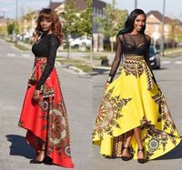 New 2017 Irregular Long Skirt Womens Vintage Floral Print african Retro Maxi Skirt High Waiste Saia Feminina Ladies Clothing
