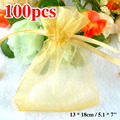 Golden Organza Bag 13x18cm 100 Piece Organza Pouches Wedding Decoration Favour New Year Gift Craft Drawstring Pack Mini Bags